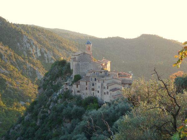 Peillon village near Nice France at sunset